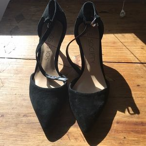 Sole Society ankle strap black suede heels, size 8